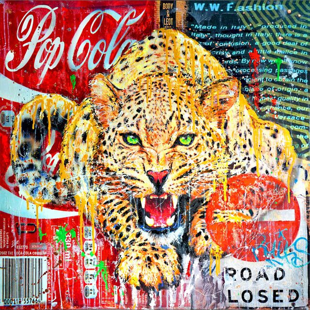 """Leopard 100x100 Collage&Acrilic on Canvas Serie """"FullArt Couture"""" 2014 Private Collection"""