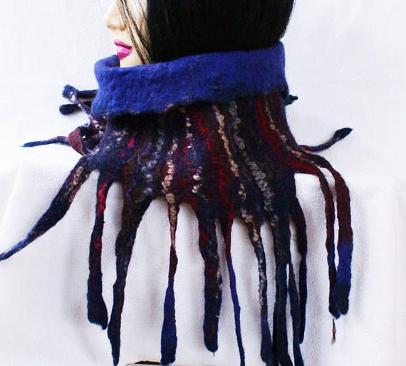 Styish Hat Scarf Cowl with fringe Bohemian Neckwarmer Fringe