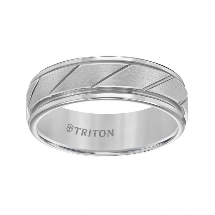 7mm Tungsten Carbide Flat Satin Finish Center with Bright Diagonal Cuts and Rims Comfort Fit Band | ShopTJC.com