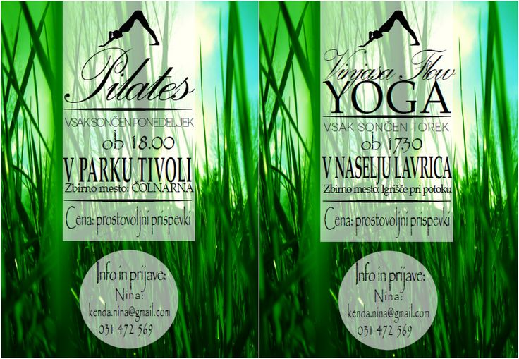 Flyer for outdoor yoga and pilates courses.