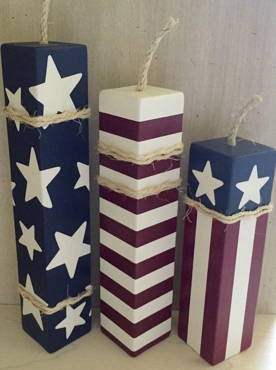 Patriotic Firecrackers Set of 3 Large Wood by EllieDeeDesigns