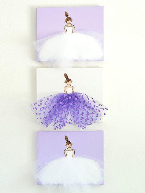 Baby Mädchen Kinderzimmer Dekor Ballerina Kunst Baby Mädchen Kinderzimmer Wand Kunst Mädchen Kindergarten Kunst Ballett Kunst Ballerina Malerei Tänzer Malerei lila rosa