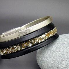 Bracelet manchette cuir 4 liens noir / doré aimanté magnetique