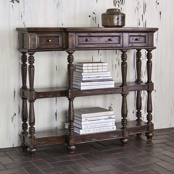 Sofa Slipcovers Silvia Distressed Wood Console Table Western Sofa Tables Crafted from solid wood this console