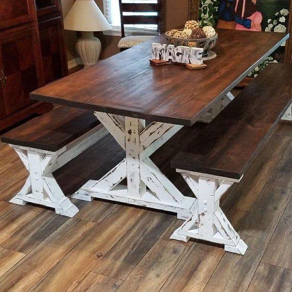 Chunky Maple Farmhouse Bench Legs Set Of Unfinished Etsy