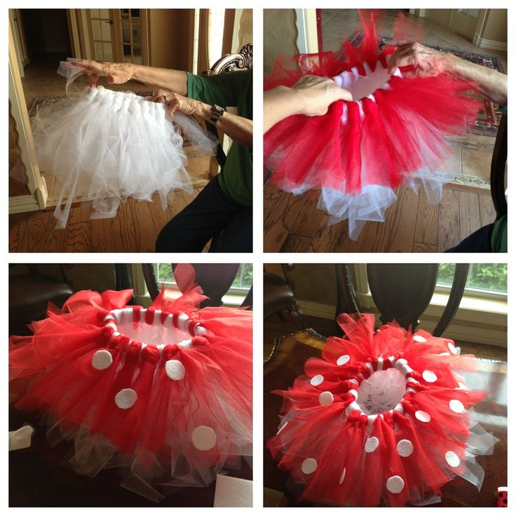 Minnie Mouse TuTu. Very simple, no sew. Headband waist, pull tulle threw itself to tighten on waistband and layer colors. Polka dots r made from felt and glued on.