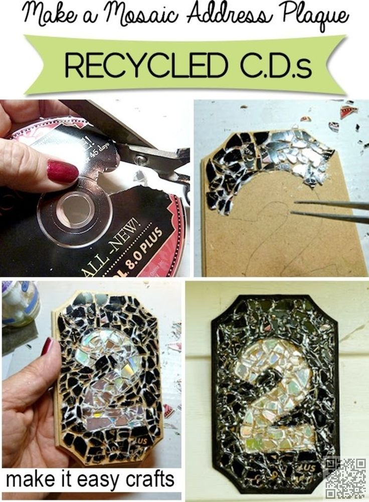 4. #Mosaic Address Plaque - A bit of bling for the front of your home - 35 Ways to Recycle Old CDs