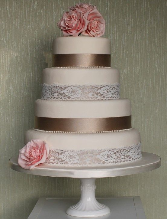 beautiful pink and brown, ribbon and lace, wedding cake