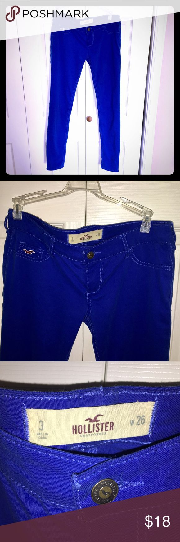 Royal Blue Hollister Jeans Skinny Cute soft stretchy jeans in a fun royal blue color. Skinny leg. Excellent condition! Size 3 Juniors Hollister Jeans Skinny