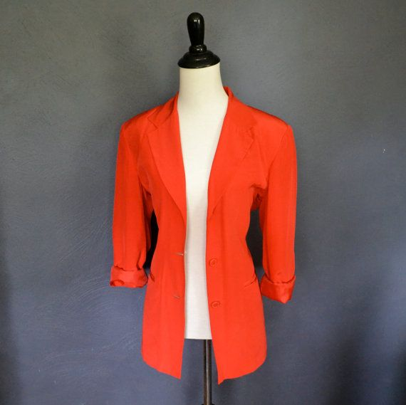 Vintage Bright Red Silk Blazer / Button Front Jacket by miskabelle Size Small to Medium $35
