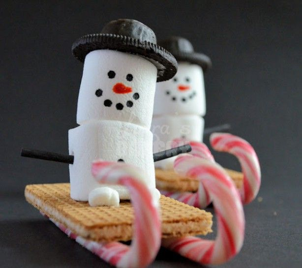 Snowman sled dessert