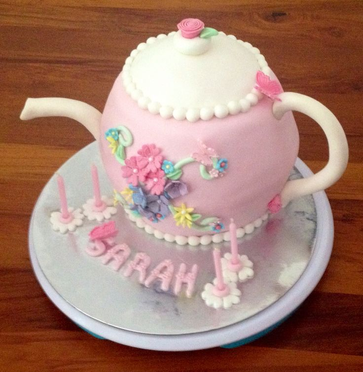 """My first teapot cake for a four year olds birthday her theme was """"teapots"""""""