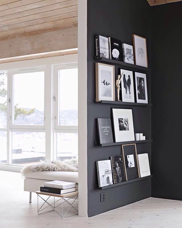 dark accent wall to display finished work/inspiration (mine would be aubergine, obvs)