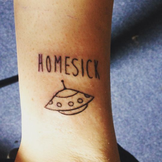 Homesick Alien UFO Outerspace ankle calf leg foot tattoos tattoo tat tats idea ideas inspiration ink small black FYeahTattoos.com
