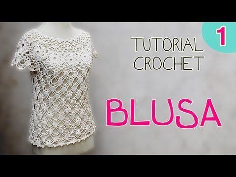 Tutorial blusa en crochet (1/2) - YouTube