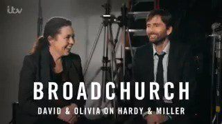 VIDEO: #Broadchurch 3 - David and Olivia on Miller and Hardy (sorry can never call them Hardy and Miller) NOTE: Contains S3 spoilers that may not play outside the UK Source: ITV / Twitter