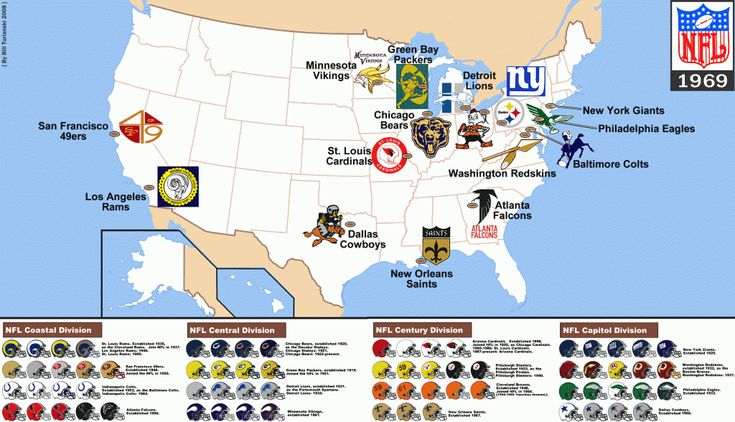 NFL Teams from 1969 - super bowl geography  -  winter activities for kids  ~ from HowToHomeschoolMyChild.com  (map by Bill Townsend)