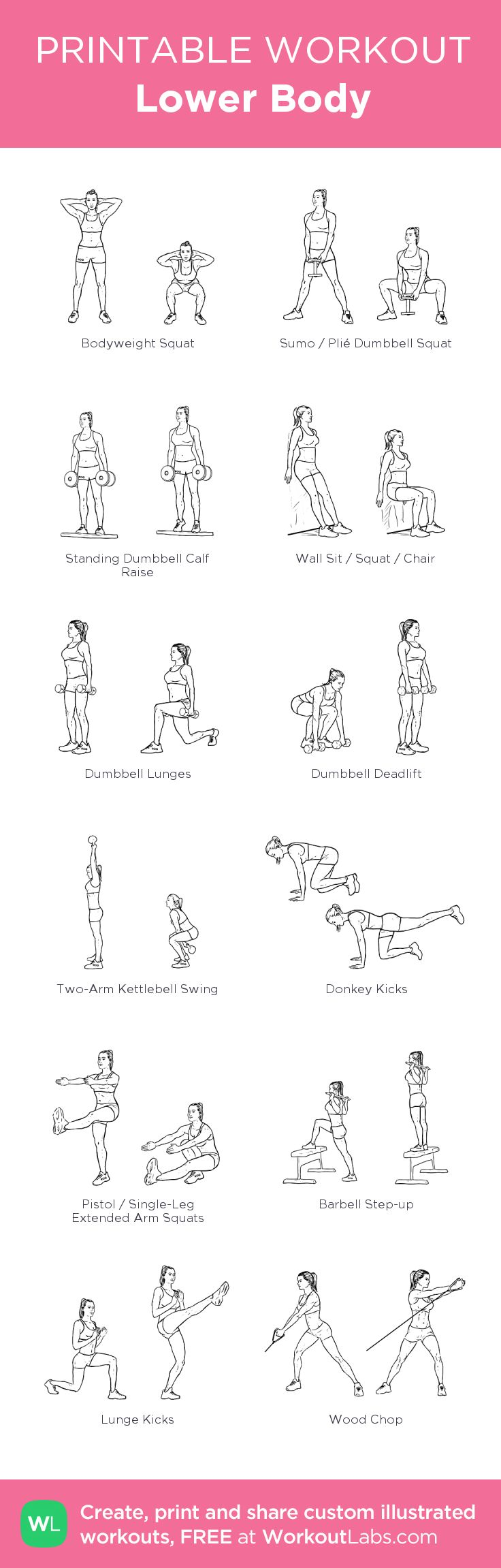Lower Body –my custom workout created at WorkoutLabs.com • Click through to download as printable PDF! #customworkout