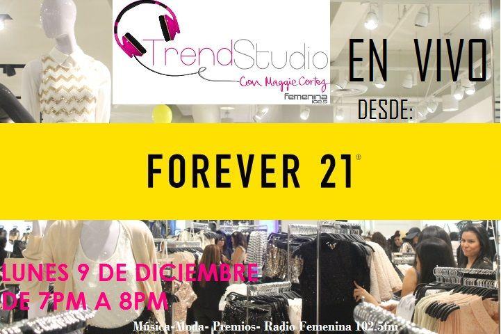 Esta noche transmitiremos en vivo desde el centro comercial Multiplaza El Salvador, una noche llena de moda, música, premios y #FashionSatlking desde la tienda más #trendy del momento: Forever 21. Acompaña a Maggie Cortez de 7:00 a 8:00PM a través Radio Femenina 102.5, escúchanos en internet en www.femenina.com.sv