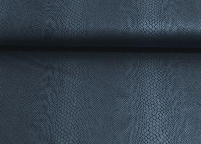 Stofje Punta jersey met caoting laag slangenprint / Stretch imitatieleer met slangenhuidprint donker blauw