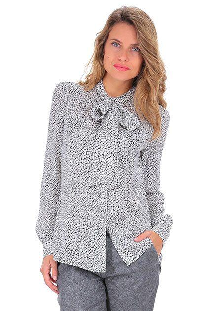 Michael Kors - Camicie - Abbigliamento - Camicia in seta con fiocco sullo scollo…