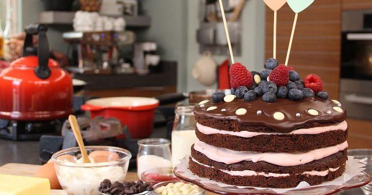 Recept voor Chocoladetaart met 4 laagjes van Saakje