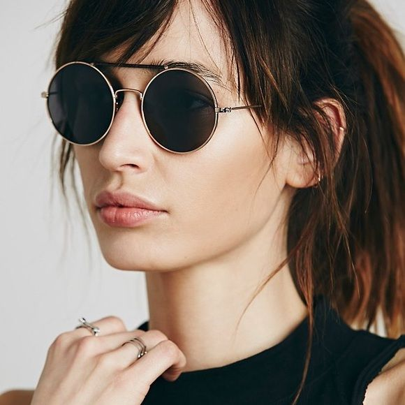❤️BOGO❤️New Free People Snake Wrapped Rounders New without tag. All sunglasses buy one get one free! Two colors available: gold frame with brown leather brow bar, and silver frame with black leather brow bar. Free People Accessories Sunglasses
