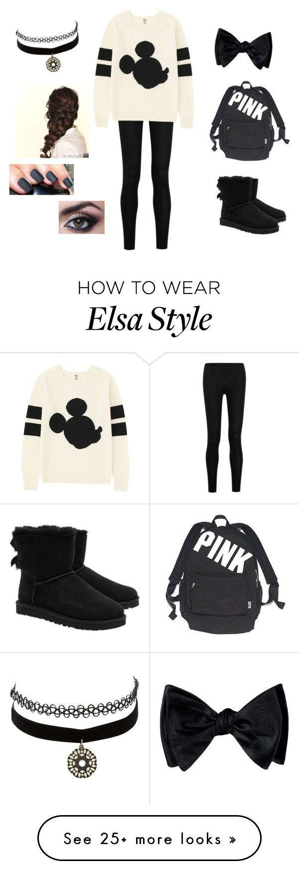 """""""Cute for school"""" by taylor8069 on Polyvore featuring Donna Karan, Uniqlo, UGG Australia, Victoria's Secret, Charlotte Russe and Disney"""