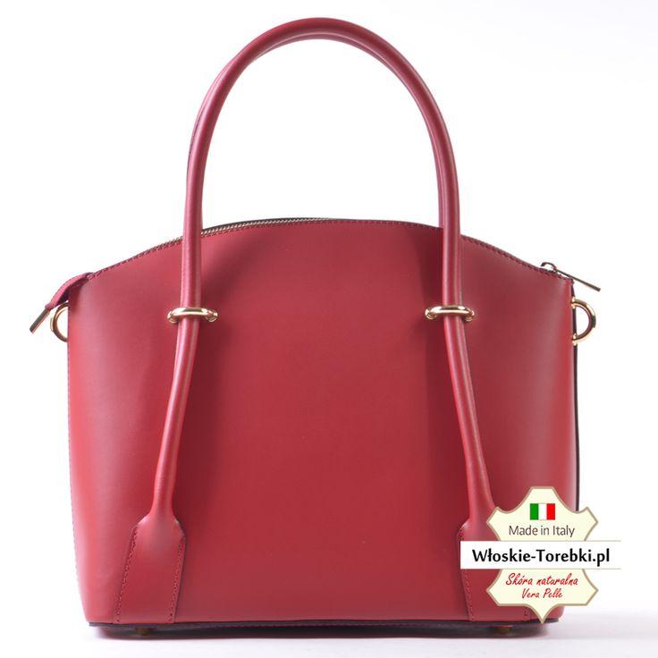 Model Floriana w pięknym kolorze czerwonym. Skórzana torebka - elegancki i efektowny kuferek średniej wielkości. Nowoczesny design, funkcjonalność, elegancja to główne atuty tej włoskiej torebki
