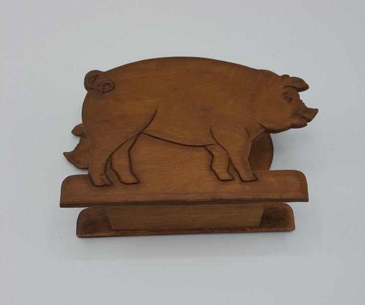 Vintage 1980's Wood Pig Napkin Holder -Vintage Wood Pig Napkin holder – Pig Farm Animal Napkin Holder, Farmhouse kitchen tableware