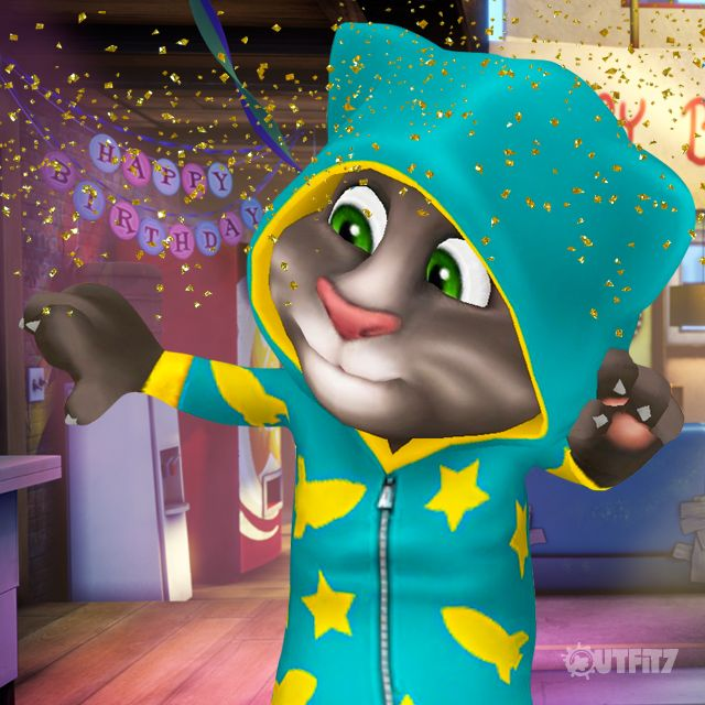 How cool is this onesie?! Who picks the BEST presents, who???? xo, Talking Angela #TalkingAngela #MyTalkingAngela #LittleKitties #TalkingTom #party #gold #theme #TomGoldRun #game #app #best #ever #cute #happy #run #running #birthday #cake #onesie #present
