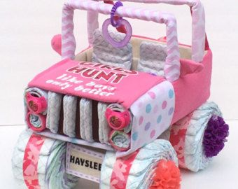 Pink camo jeep, pink camo baby, pink camo baby shower, girls hunt too, pink camo diaper cake, unique baby gift, baby shower ideas, baby