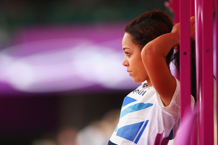 Katarina Johnson-Thompson of Great Britain looks on during the Women's Heptathlon High Jump on Day 7, Aug. 3, 2012.