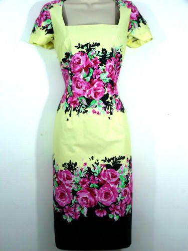 NEW OASIS RETRO 50'S STYLE FLORAL PENCIL DRESS LEMON PINK SZS 8 10 12 14 16 18