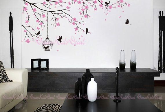 Tree wall Decal Wall Sticker Baby Nursery Decals-Cherry Blossoms Tree Decal-DK098 via Etsy