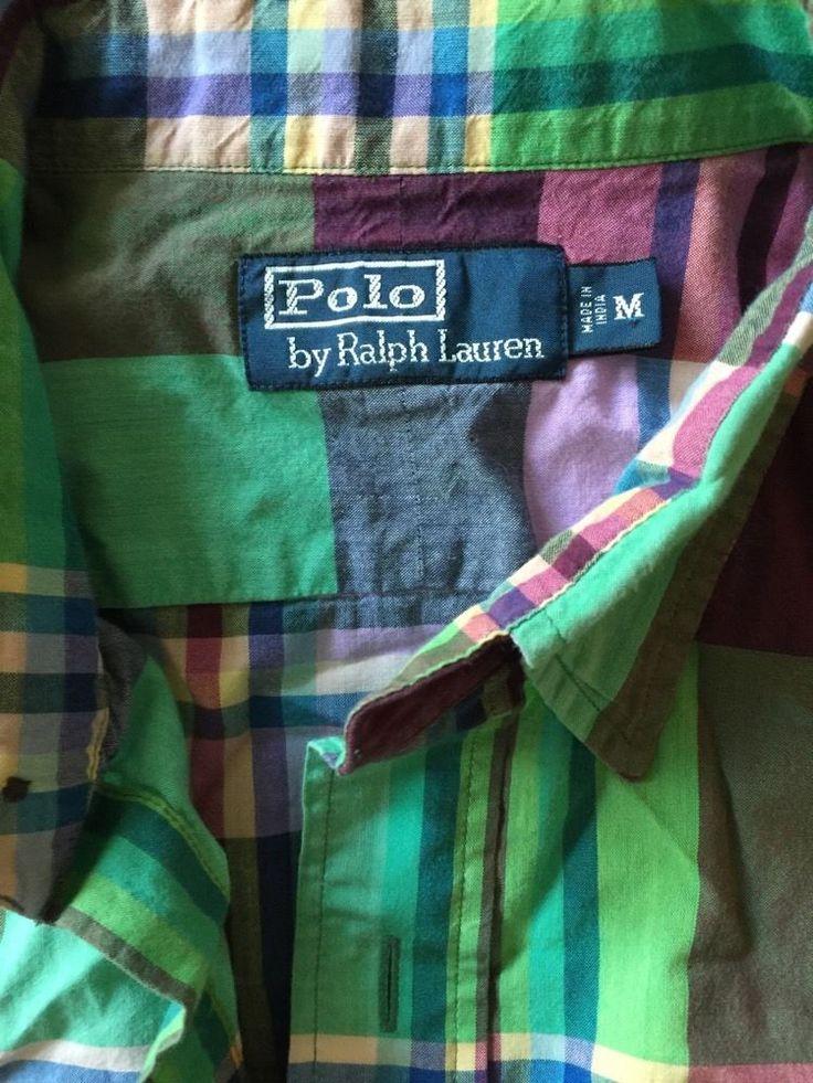 Men Polo Ralph Lauren Green Purple Blue Pink Plaid Medium Madras Shirt S/S #PoloRalphLauren #ButtonFront
