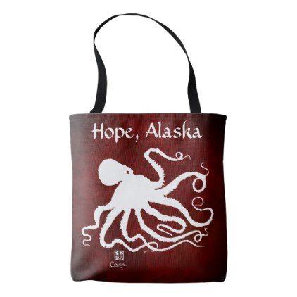 Octopus 6 on Red Hope - Medium Tote Bag - gift idea