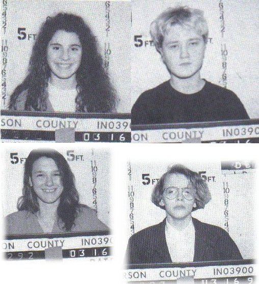 Melinda Loveless - 16, Laurie Tackett - 17,  Hope Rippey and Toni Lawrence, both 15. The murder of Shanda Renee Sharer (June 6, 1979 – January 11, 1992) involved a 12-year-old girl who was tortured and burned to death in Madison, Indiana by four teenage girls. Lawrence was released in 2000, Rippey in 2006. Loveless and Tackett each received a 60-year prison sentence.