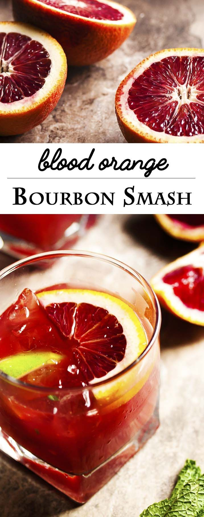 Blood Orange Bourbon Smash - Blood oranges give this Bourbon Smash a gorgeous ruby color. Maple syrup provides a bit of smokey, sweetness while lime and mint give the drink an extra pop of flavor. Have it as is for smooth sipping or add a splash of soda water for a lively cooler. | justalittlebitofbacon.com