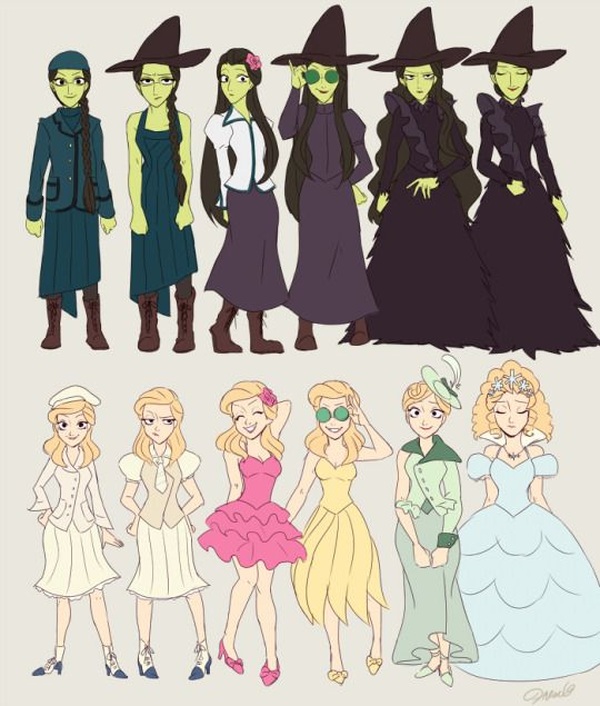 Glinda and Elphaba's Outfits from the musical, Wicked. They missed one of Glinda's outfits though…
