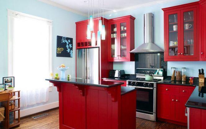 Small red kitchen designs with islands  Interior Design for Livingro