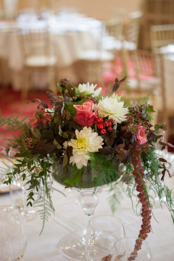 Close up of short table centre flower arrangement at Number 6 Kildare St. - The Royal Colege of Physicians Dublin