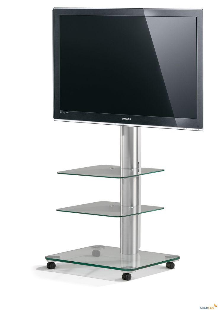 Floor Tv-Rack aus Glas mit Rollen - ARREDACLICK