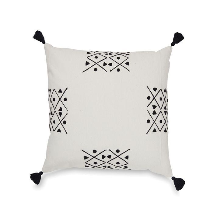 Pinasse Quarter Embroidered Cushion Cover w/Tassels | Citta Design $74.90