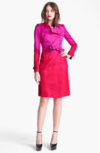 Think pink. Burberry Prorsum Double Breasted Satin Trench Coat