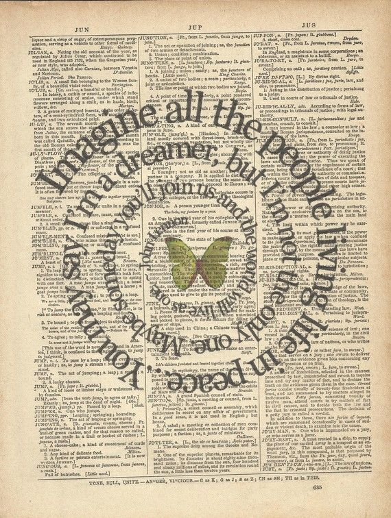 John Lennon Imagine lyrics on old dictionary paper. @Kay Richards Richards Richards Richards Richards Kennedy ?