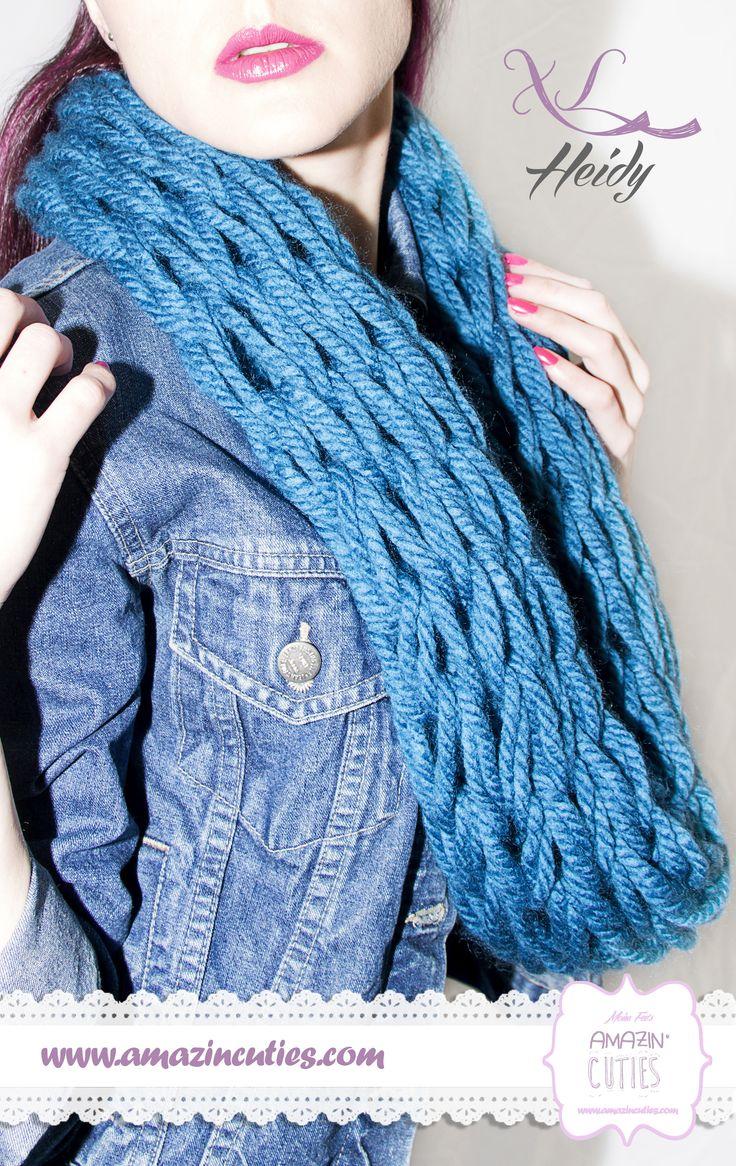 heidy bufanda tipo cuello de lana gruesa acrlica color azul a hilos