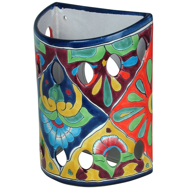 Talavera ceramic wall sconces add a spot of bold color to any wall. Handmade in Mexico. Star ...