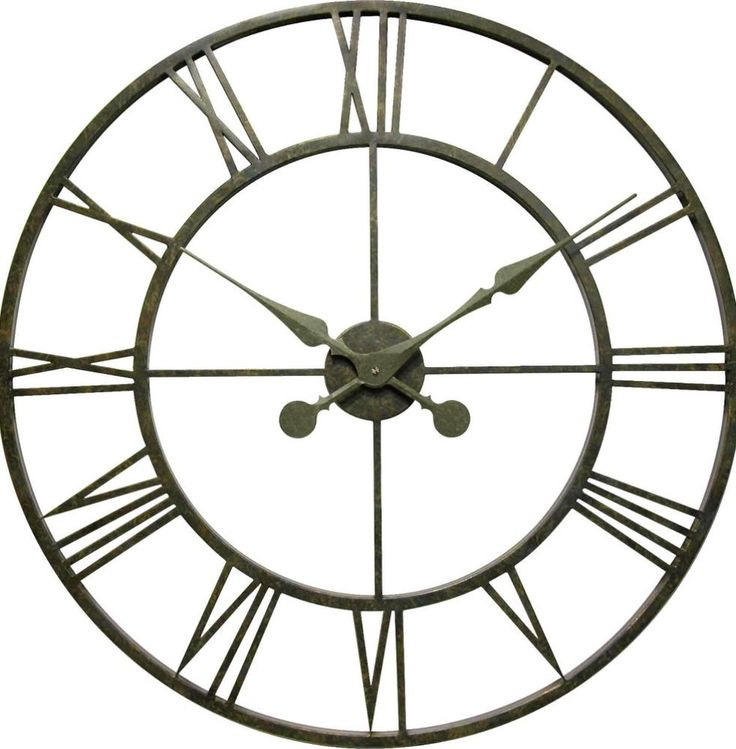 30-Inch Modern Iron Tower Pewter Metal Round Wall Clock Indoor Outdoor Decor #WallClock