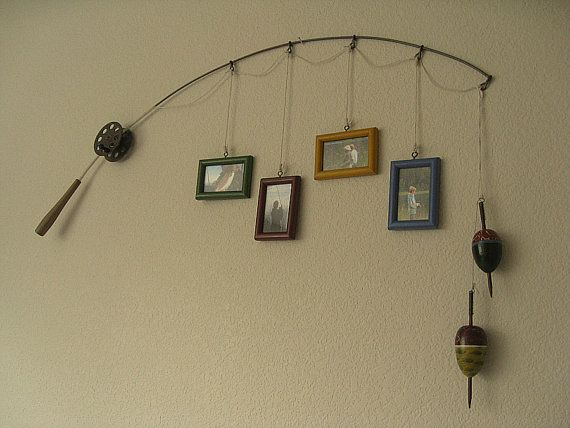 adorable idea for boys room, vintage look, seafood eatery, larger kitchen!: Pole Pictures, Boys Rooms, Lakes Houses, Fish Pole, Picture Frames, Fishing Poles, Pictures Frames, Man Caves, Metals Brown